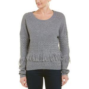 BB Dakota XS Grey Candace Pullover Sweater Women's Fringe Accents Gray New NWT
